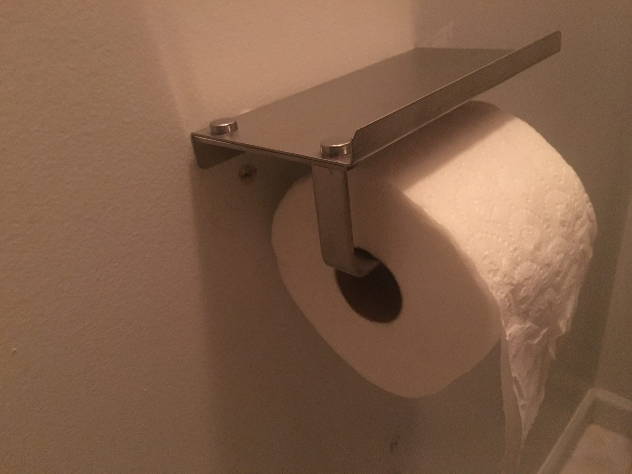 unique toilet paper holder with cell phone tray
