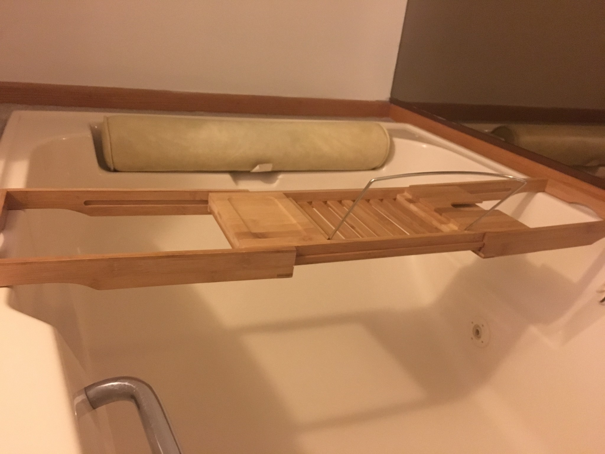 Bamboo Bathtub Spa Caddy Book Tablet Holder Extendable Sides ...