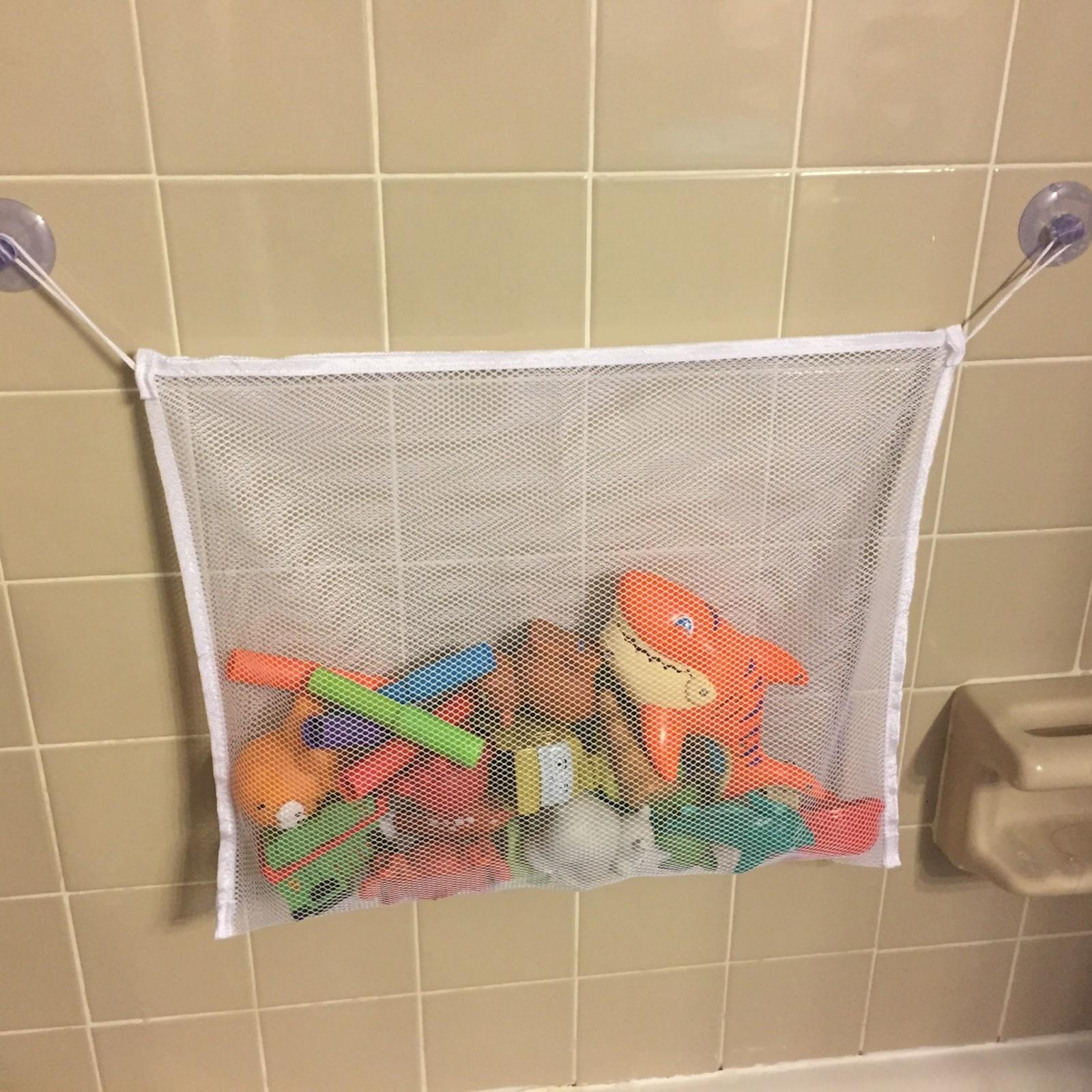 Mesh bag toy bathtub organizer – tub or shower